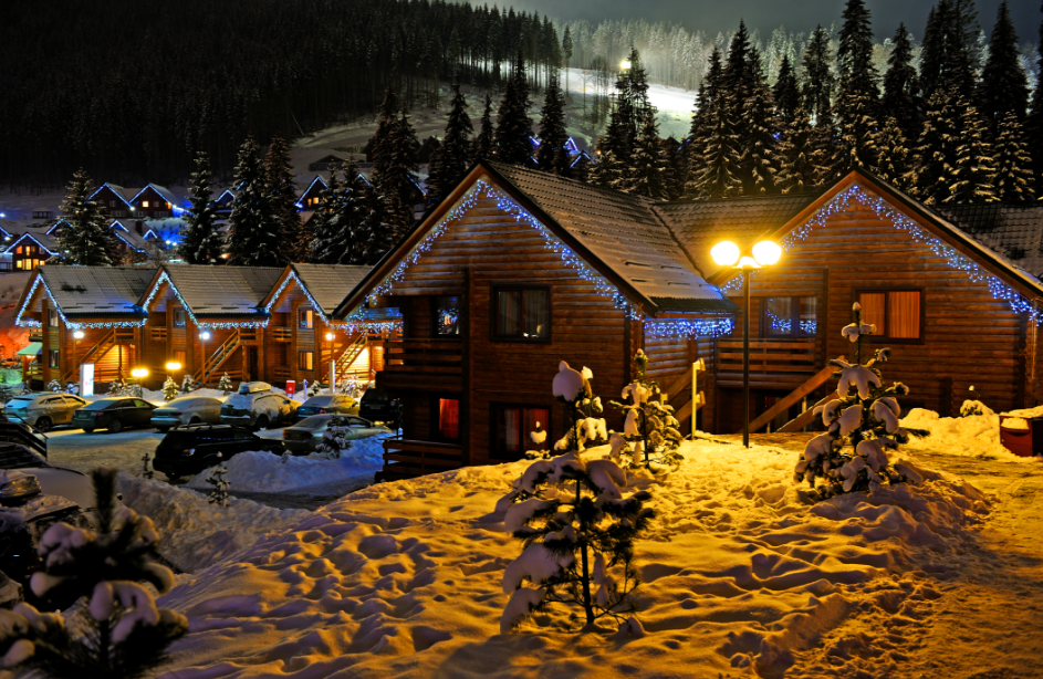 Snowy Scene with heated homes